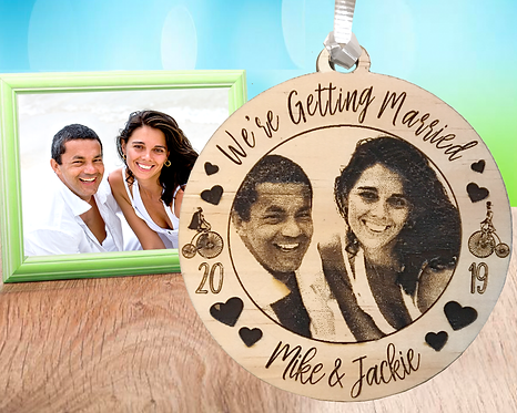 We're Getting Married Picture Engraved Ornament