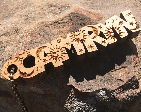 Sun, Moon and Stars Custom Wood Keychain, Personalized Engraved Key Chain