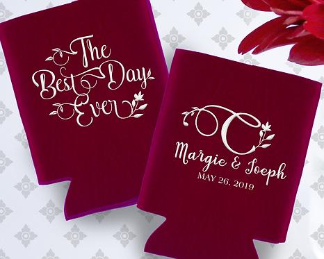 Best Day Ever Monogram Wedding Can Cooler
