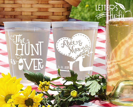 The Hunt is Over Frosted Wedding Cups