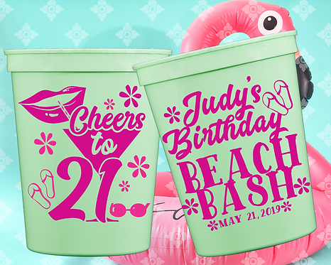 Cheers to 21 Beach Bash Birthday Stadium Cup