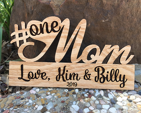 Personalized #1 Mom Custom Wood Plaque