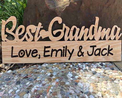Personalized Best Grandma Custom Wood Plaque
