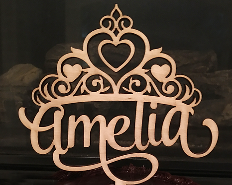 Personalized Princess Crown Birthday Wood Cake Topper