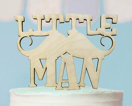 Little Man Mustache Birthday Wood Cake Topper