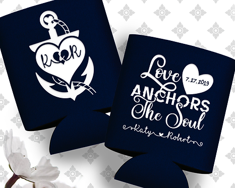 Love Anchors the Soul Wedding Can Cooler
