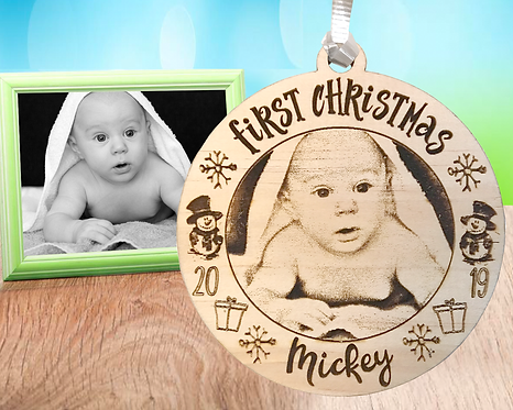 First Christmas Picture Engraved Ornament
