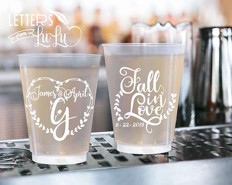 Fall in Love Frosted Wedding Cups