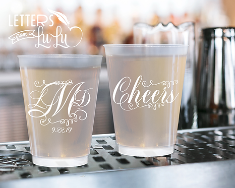 Monogram Cheers Frosted Wedding Cups