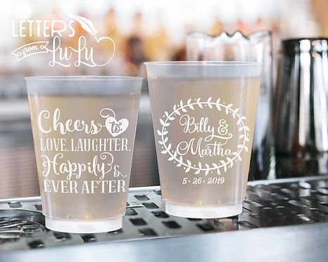 Cheers to Love , Laughter & Happily Ever After Frosted Wedding Cups