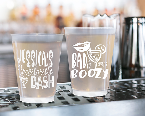 Bad and Boozy Bachelorette Frosted Cups
