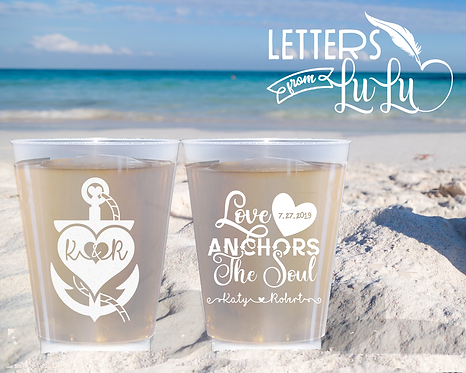 Love Anchors the Soul Frosted Wedding Cups