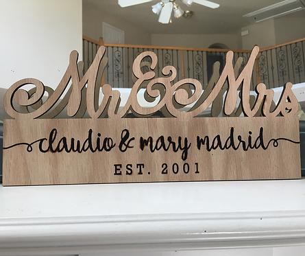 MR. & MRS. Engraved Wood Plaque