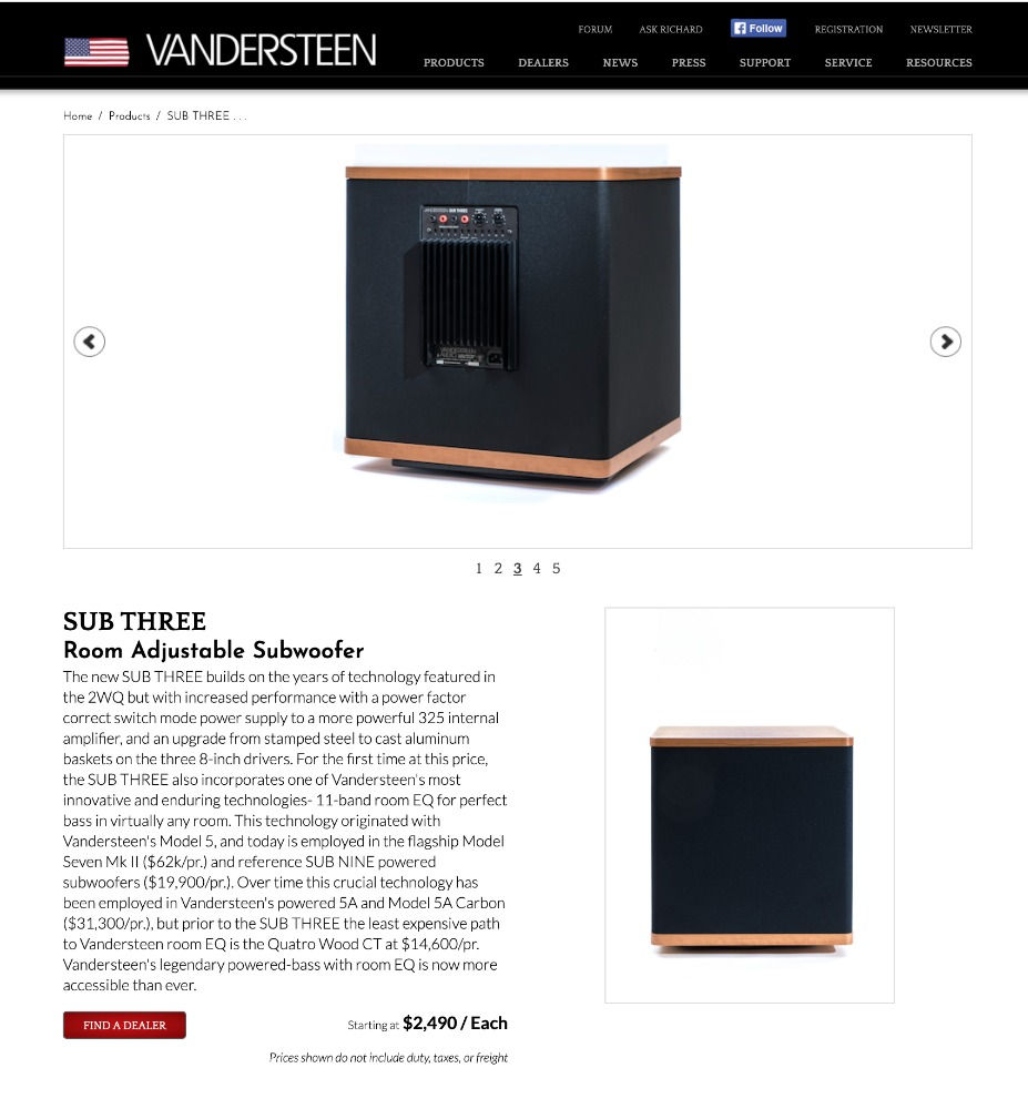 Vandersteen Subwoofer Three