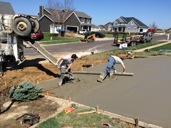 pouring driveway at residential