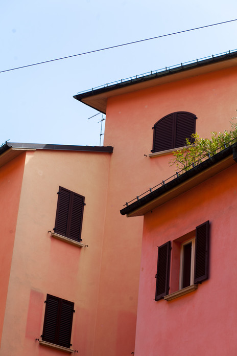 Nested houses in the center of Bologna, Italy, May 2019