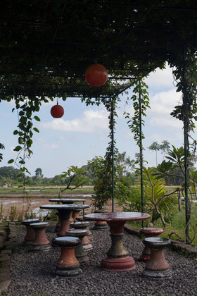 Terrace of Sweet Orange, a cafe-warung among the rice fields above Ubud.  Bali, Indonesia, August 2017
