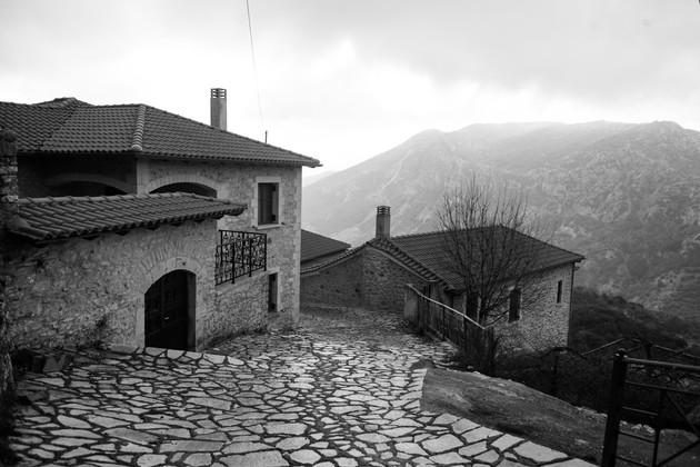 Silent streets of Dimitsana, Arcadia, Peloponnese, Greece, February 2019