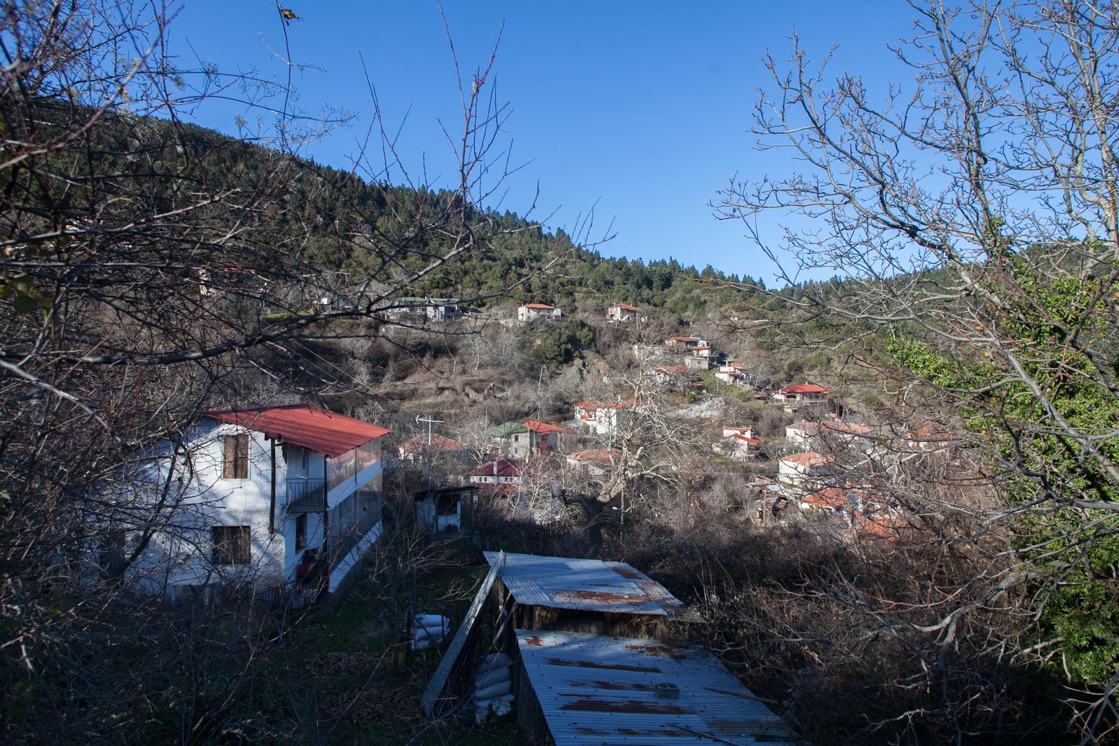 View on the village of Pavliani, Mount Iti, Attica, Greece, December 2017