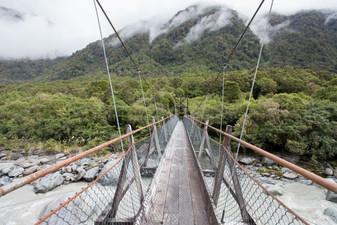 A moving bridge near Fox Glacier, South Island, New Zealand, February 2017