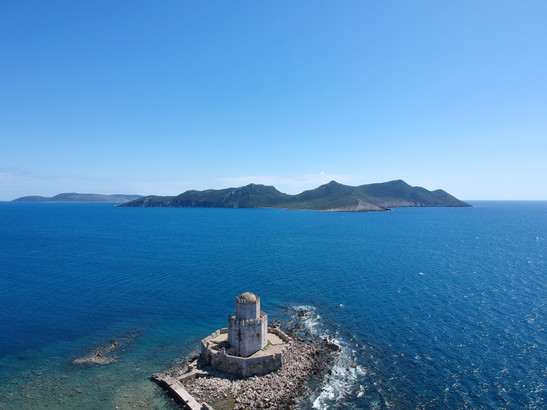 Castle of Methoni looking beyond.  Methonis, Messenia, Peloponnese, Greece, April 2019