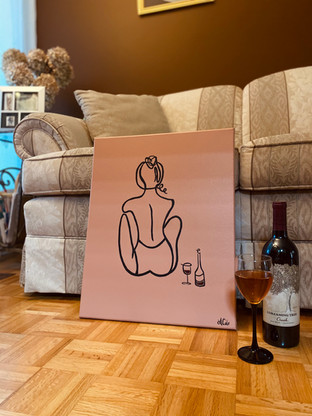 """Wine Line Lady - 16""""x20"""""""