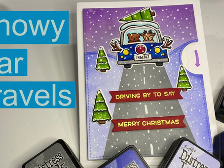 HOLIDAY CARD SERIES w/ Lawn Fawn: Reveal Wheel Christmas Car Critters