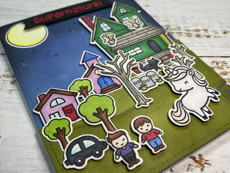 Supernatural Card: Lawn Fawnatics Challenge 97 – Inspired by a Book, Movie or Song (or TV show)