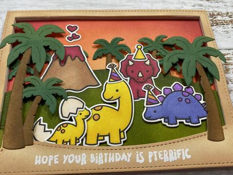 Rawrsome Swish 'N Pop Birthday Card