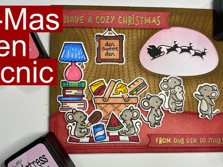 HOLIDAY CARD SERIES w/ Lawn Fawn: Christmas Mouse Family Picnic