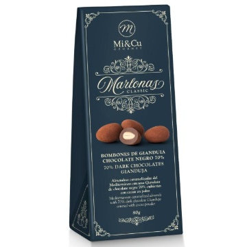 Mi Cu Marlonas Dark Chocolate Coated Almond 80g Ballotin
