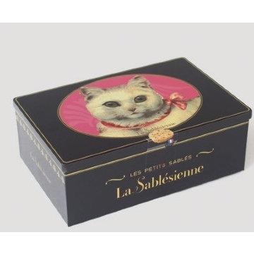 La Sablesienne White Cat Tin (All butter chocolate chip sables) 250g