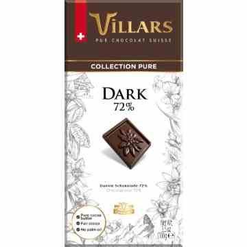 Villars Dark Pure Chocolate 100g Bar 72% Cocoa