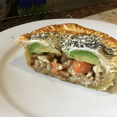 Homemade Chicken pie with avocado and carrots