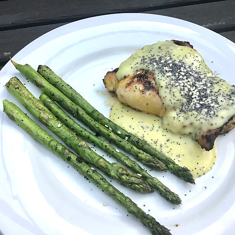 Mustard Chicken with mustard sauce and asparagus