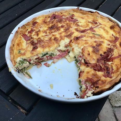 Homemade quiche w/ broccoli/bacon/salami