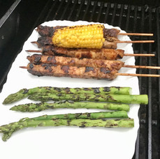 Honey Soy Kebabs and asparagus