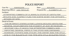 Liz Lai's Crime Scene report