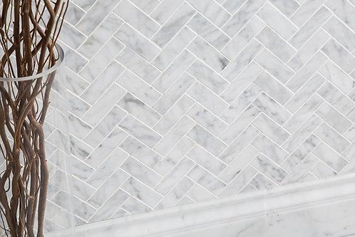 Carrara Herringbone Marble