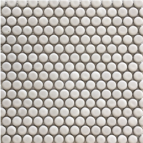 Penny Round White Mosaic