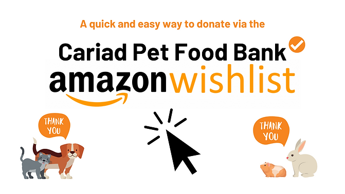 Cariad Pet Food Bank Opening 1st January
