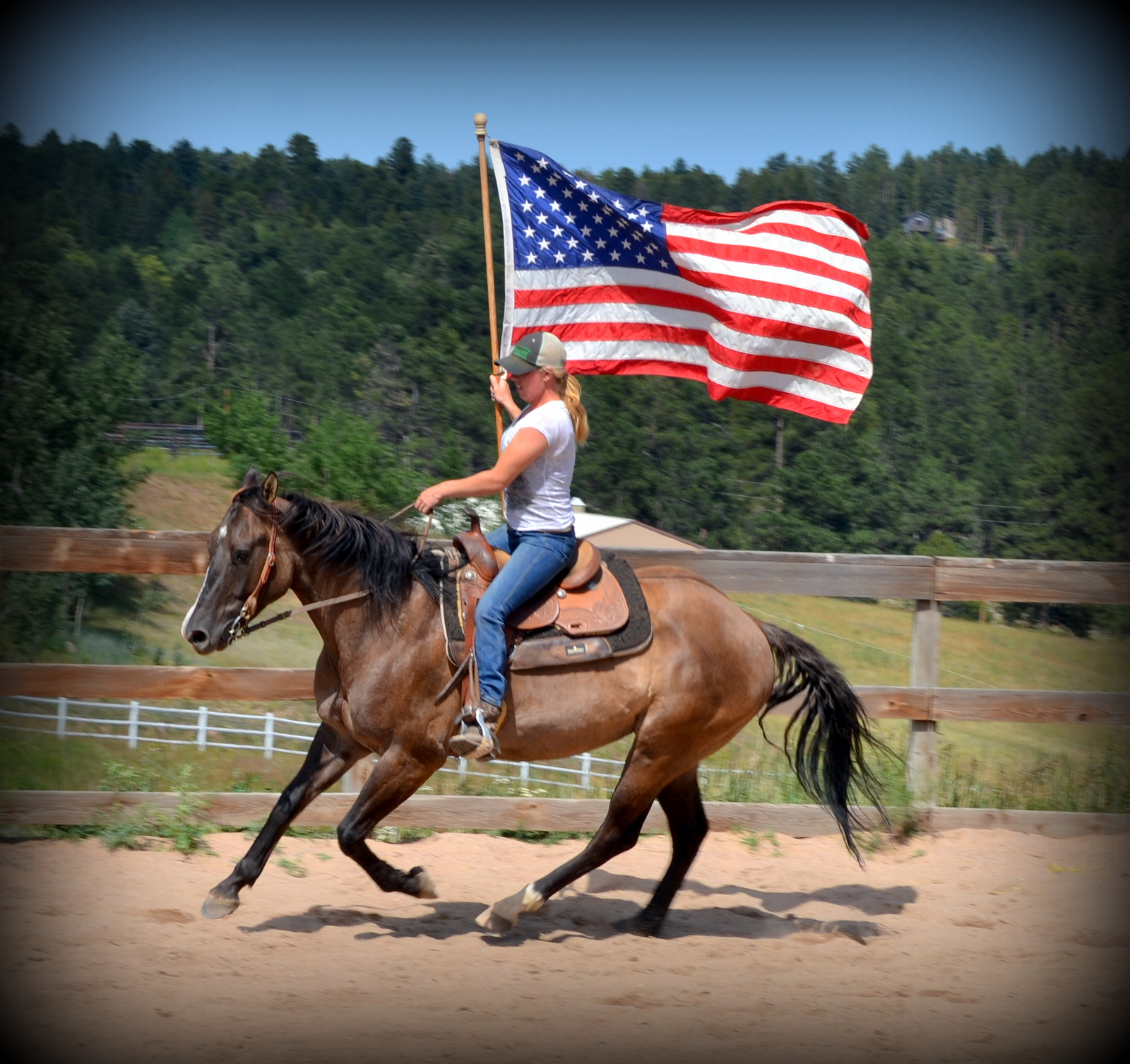 Brittnee teaching a horse to carry a flag