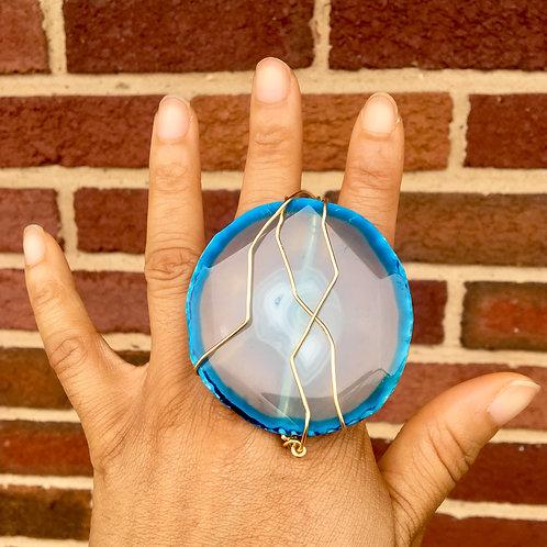 SKY BLUE AGATE BRASS (2 finger ring)