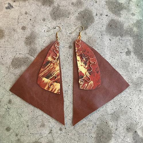 Tripod Graffiti Copper Earrings
