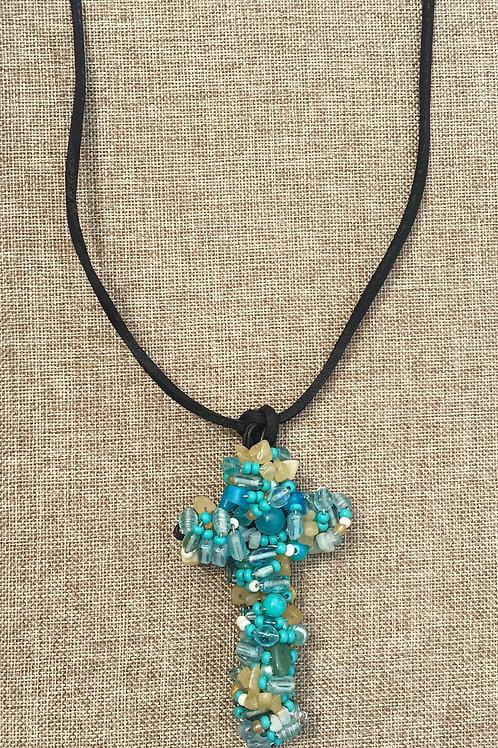 XL Turquoise Beaded Cross