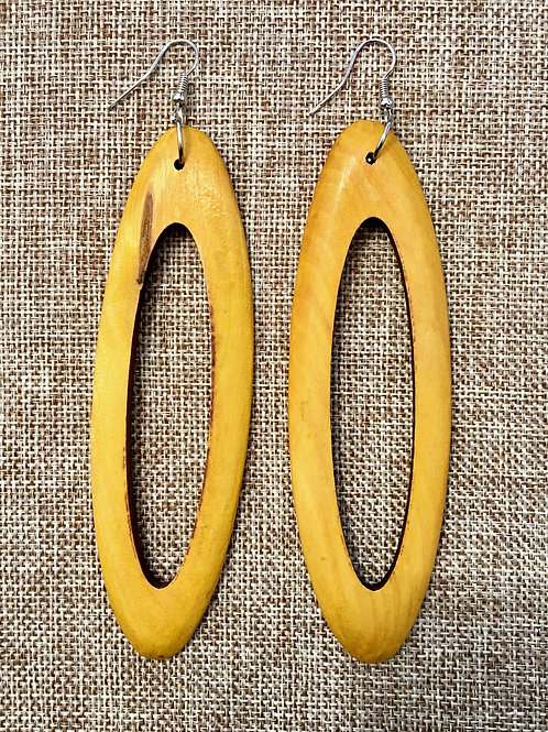 Yellow Wooden Oval Hoops