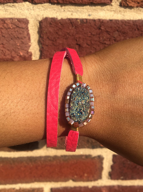 PINK Leather Wrapped DRUZY