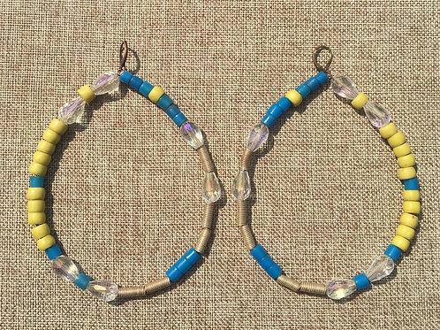 Afri Crystal Blu Hoops