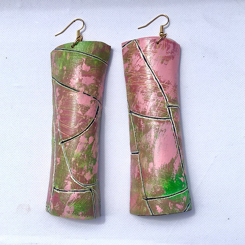 PINK & GREEN SCROLL mosaic LEATHER