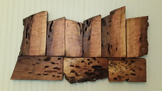 Wall Sculpture made from Salvaged Sycamore